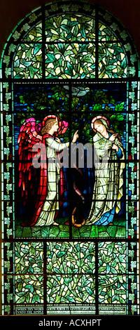 Winchester Cathedral PreRaphaelite Pre-Raphaelite stained glass window designed by Sir Edward Burne-Jones interior - Stock Photo