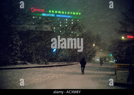A snowstorm in the evening, Poznan, Poland - Stock Photo
