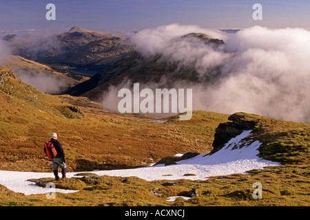 The Brack in the Arrochar Alps from Ben Donich - Stock Photo