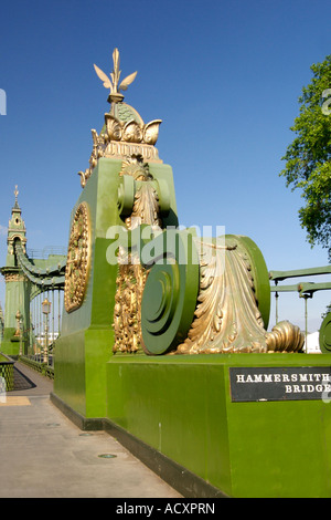 Hammersmith bridge which spans the Thames River in West London. - Stock Photo
