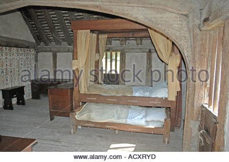 Early 15th Century, Tudor,Wealden, family room Bayleaf Farmhouse - Stock Photo