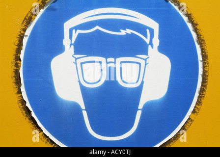 Mandatory Safety Sign For Ear And Eye Protection Stock Photo