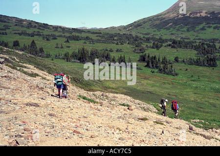 Backpacking in Tweedsmuir Provincial Park British Columbia Canada - Stock Photo