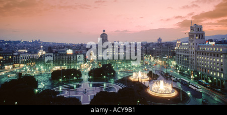 ESP Spanien Barcelona Plaza de Catalunya sunset - Stock Photo