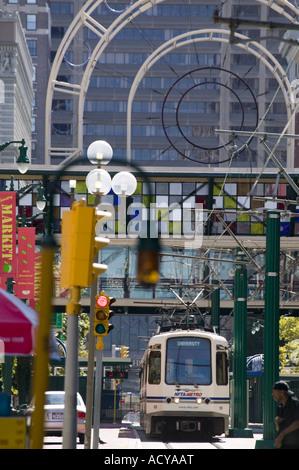Main Street Buffalo New York features trolleys - Stock Photo