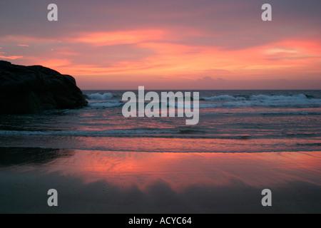 Sunset at Sandwood Bay Sutherland Highlands Scotland - Stock Photo