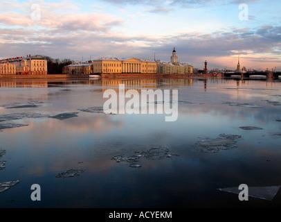 Winter sunrise on Neva River, Saint Petersburg, Russia - Stock Photo