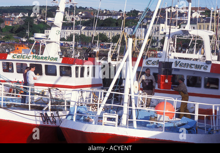 Men load fishes at a fishing trawler in the harbour of Howth near Dublin Ireland - Stock Photo