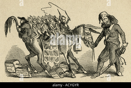 geography/travel, Germany, politics, caricature, 'The German people, presented by its trainer Knoutovski and ridden - Stock Photo