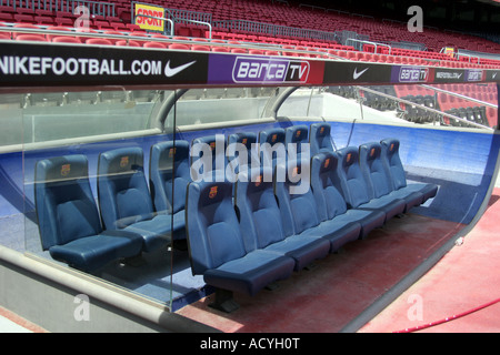 The bench @ Nou Camp Stadium in Barcelona with a 90,000 capacity home to FC Barcelona. - Stock Photo