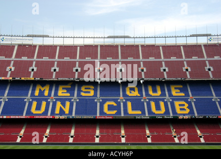 Nou Camp Stadium in Barcelona with a 90,000 capacity home to FC Barcelona. Built in 1957 designed by architects; - Stock Photo