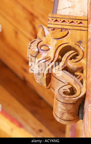 Detail of a dragon head in the English Church or the Church of St Olav Balestrand Sogn og Fjordane Norway - Stock Photo