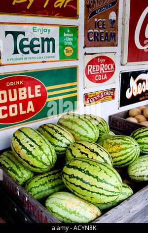 fresh picked watermelons in wood crates, near vintage tin cola sign - Stock Photo