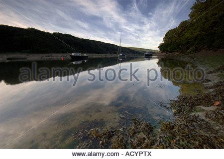 Erme estuary mooring - Stock Photo