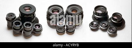 macro lenses by Zeiss Nikon and Leitz - Stock Photo