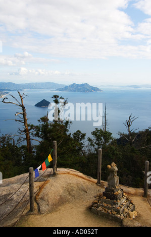 Japan Honshu Island Hiroshima Prefecture Miyajima Island View of Sea of Japan from top of Mount Misen - Stock Photo