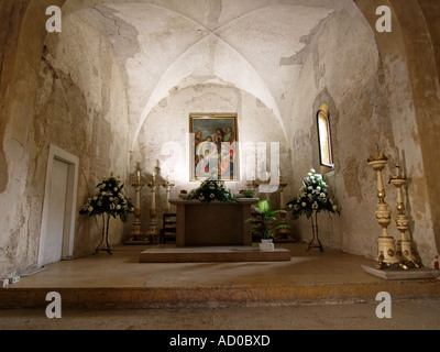 Interior of the 12th century San Nicolo church Lazise Garda lake region Italy - Stock Photo