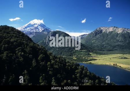 Lake Paimun and Lanin volcano, Lanin National Park, Neuquen Province, Argentina - Stock Photo