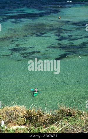 Sea kayakers off Penguin Island Shoalwater Islands Marine Park Western Australia Stock Photo