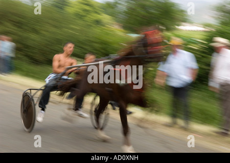 Action blurred image of Horse and trap racing at speed at Appleby Horse Fair June 2007 - Stock Photo