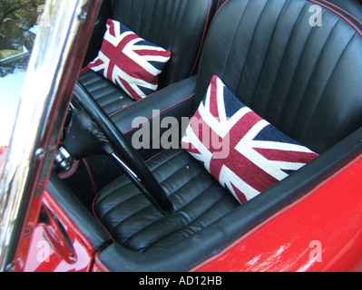Two Luxury Leather Seats Inside Old Vintage Car Stock Photo