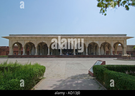 Horizontal wide angle view of the huge marble Diwan-i-am Palace inside the Red Fort on a bright sunny day - Stock Photo