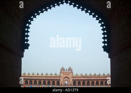 Horizontal wide angle view of the Buland Darwaza  'Gate of Magnificence' inside the Jama Masjid mosque. - Stock Photo