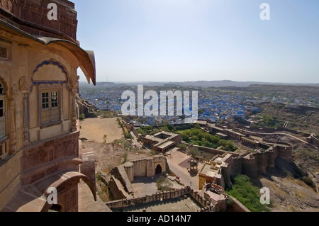 Horizontal elevated wide angle over the city of Jodhpur and the Chokelao Palace with the distinctive blue houses - Stock Photo
