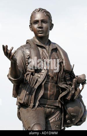 Virginia Beach Virginia 24th Street Park Naval Aviation Monument female soldier military pilot - Stock Photo
