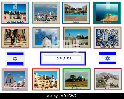 12 image Collage of Israel with flag - Stock Photo
