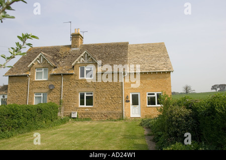 Newly constructed well designed attractive extension to small semi detached house in Cotswolds - Stock Photo
