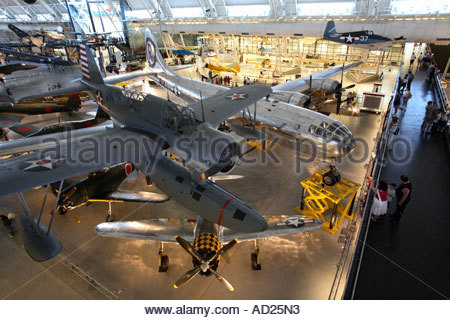 Japanese WWII seaplane and US Enola Gay B-29 on display at the Steven Udvar-Hazy Center. - Stock Photo