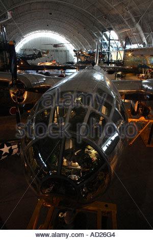Enola Gay B-29 bomber on display at the Steven Udvar-Hazy Center. - Stock Photo