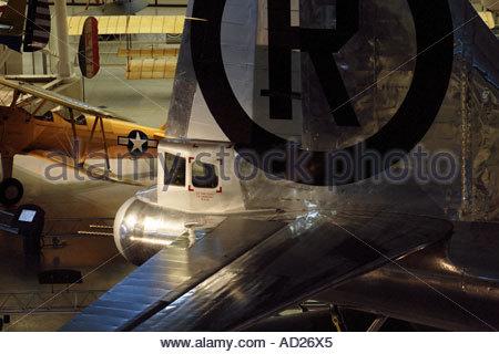 Tail gunner position on Enola Gay B-29 on display at the Steven Udvar-Hazy Center - Stock Photo