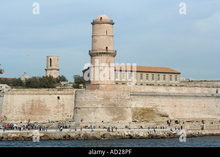 fort st jean at the entrance to marseille's famous vieux port - Stock Photo