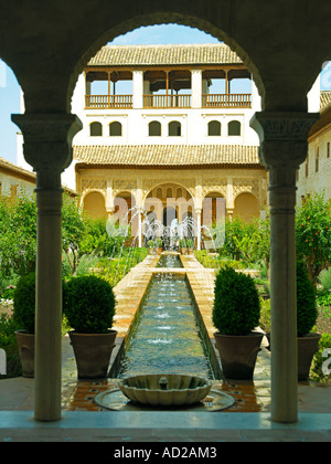 A garden with fountains in the Generalife - Stock Photo