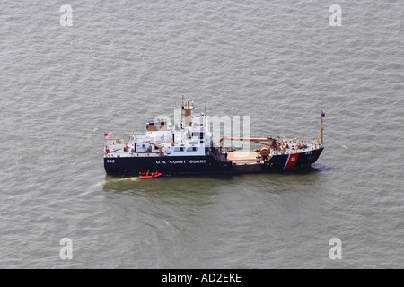 Aerial view of U.S. Coast Guard ship in New York Harbor, U.S.A. - Stock Photo