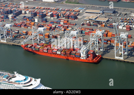 Aerial view of container ship docked at Bayonne, New Jersey, U.S.A. - Stock Photo