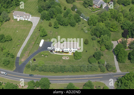 Aerial view of typical residential dwelling located in Hunterdon County, new Jersey, U.S.A. - Stock Photo