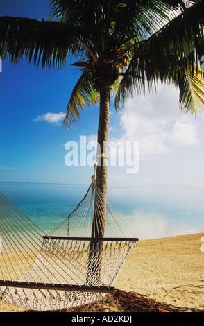Hammock on beach on Grand Bahama Island in the Bahamas - Stock Photo