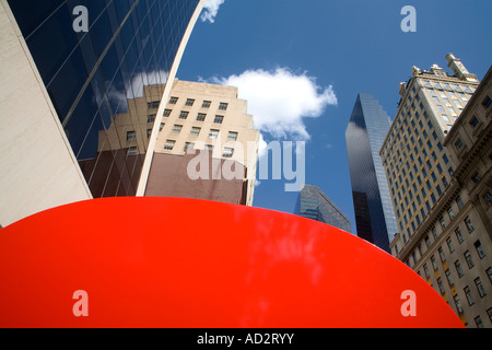 Ivan Chermayeff s Red 9 sculpture Nine West 57th Street Midtown Manhattan New York City New York USA - Stock Photo