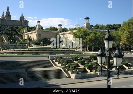 View of Museu Nacional d'Art de Catalunya Plaça de Espanya Barcelona Barça Catalonia Cataluña Costa Brava España - Stock Photo