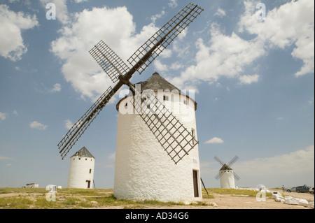 windmill, sky,ceiling, clud, area, Campo de Criptana, Ciudad Real, Don Quijote, Sancho Panza, Cervantes, La Mancha, - Stock Photo