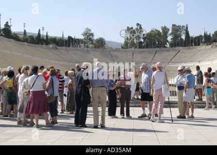Athens the Panathinaiko white marble arena and track location for the Greek Olympic Games of 1896 now a major tourist - Stock Photo