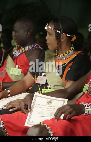 Betty Maitau, one of the first Masai woman safari guides and others at 1st Koiyaki Guiding School graduation, Kenya - Stock Photo