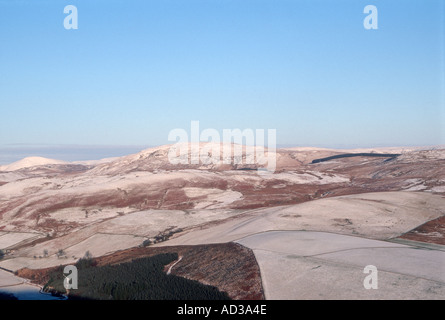 Snowy view from Castle hill to Arkleton hill Langholm Dumfries and Galloway Scotland - Stock Photo