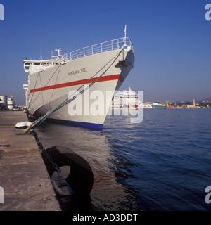 Scene in the Port of Palma de Mallorca with Fast Ferry Almudaina Dos in the foreground, Cruise Ship 'AIDA diva', - Stock Photo