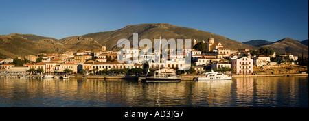 Panoramic view of Galaxidi and the Gulf of Corinth on mainland Greece Europe - Stock Photo