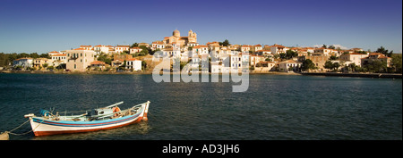 Traditional Greek fishing boat at Galaxidi on the Gulf of Corinth in mainland Greece Europe - Stock Photo