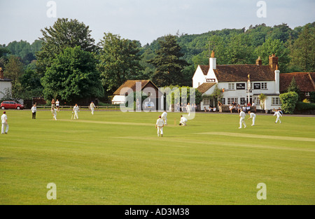 TILFORD SURREY England UK May Traditional game of cricket on the village green - Stock Photo